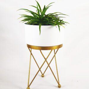 Super Exclusive White Metal Planter |1Set (12″ Pot+Stand)