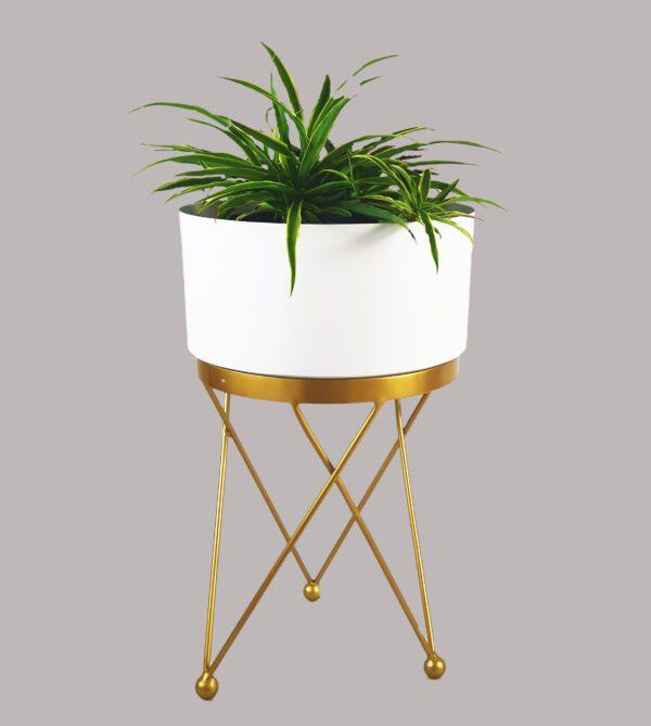white metal planter